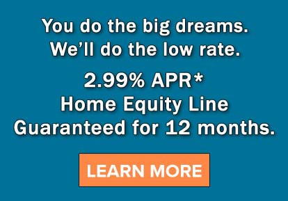 You do the big dreams. We'll do the low rate. 2.99% APR* Home Equity Line Guaranteed for 12 months.