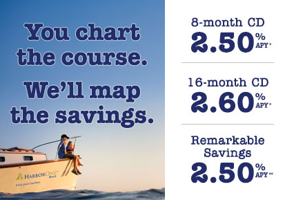 You chart the course. We'll make the savings. 8-month CD, 2.50% APY. 16-month CD, 2.60% APY. Remarkable Savings Account, 2.50% APY.